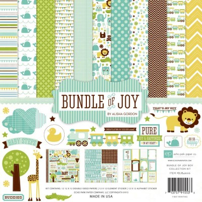 "Echo Park - Bloc de  papier double face ""Bundle Of Joy Boy""  12"" X 12""   12 feuilles"